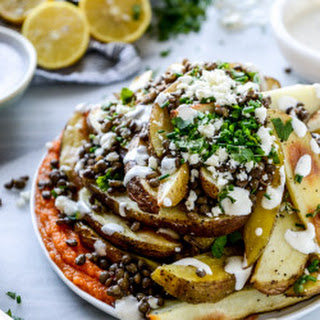 Crispy Roasted Potato Wedges with Squash, Lentils and Goat Cheese.