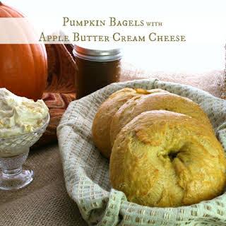 Pumpkin Bagels with Pumpkin Butter Cream Cheese.