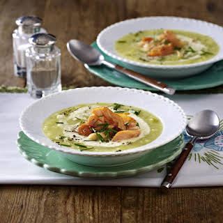 Potato Soup with Smoked Salmon and Horseradish.