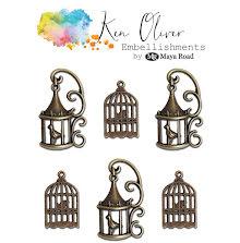 Ken Oliver Metal Embellishments 6/Pkg - Vintage Birdcages