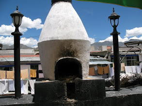 Photo: incense burner at rooftop Banok Shol restaurant with laundry in background
