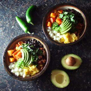 Three Sisters Breakfast Bowl with Black Beans, Hominy, and Roasted Butternut Squash.