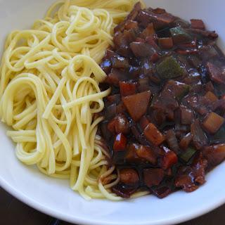Vegetarian Korean Black Bean Noodles (Jjajangmyun).