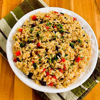 Slow Cooker Greek Rice Recipe with Red Bell Pepper, Feta, and Kalamata Olives.