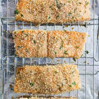 Crispy Baked Salmon with Homemade Tartar Sauce.