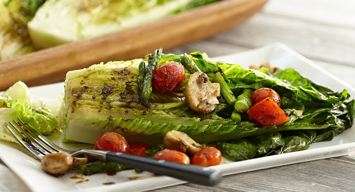 Grilled Romaine & Vegetable Salad with Balsamic Herb Vinaigrette ...