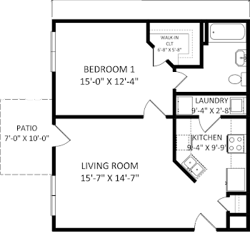 Go to One Bed, One Bath C Floorplan page.