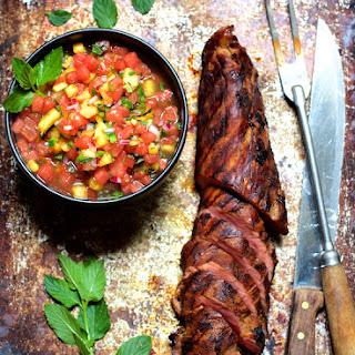 Bourbon Marinated Pork Tenderloin with Peach Watermelon Salsa
