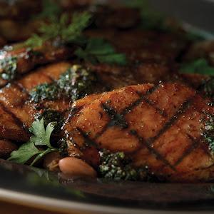Spiral Ham Steaks, Shelling Beans and Charred Herb Vinaigrette