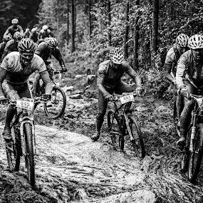 Keep left! by Bjørn Kristiansen - Sports & Fitness Cycling ( muddy, cycling, mtb, wet )