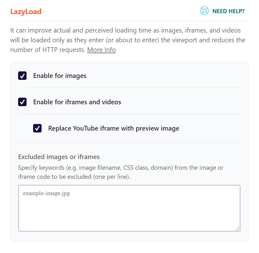 """The """"Excluded images or iframes"""" tab"""