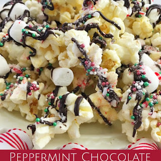 Peppermint Chocolate Drizzled Flavored Popcorn