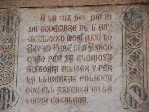 Photo: Recordatori de la mort del rei Pere el Gran.