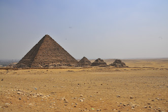 Photo: Pyramid of Mekaure with small queen pyramids
