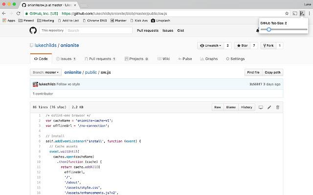 GitHub Custom Tab Size