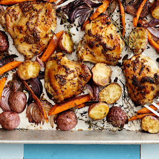 Honey-Mustard Chicken with Carrots, Potatoes, and Onions