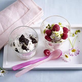 Frozen Yogurt with Raspberries and Pistachios.
