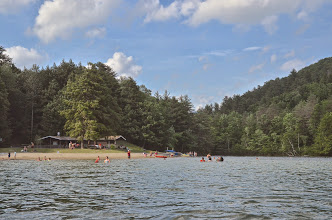 Photo: Bath house and beach at Emerald Lake State Park by Linda Carlsen-Sperry