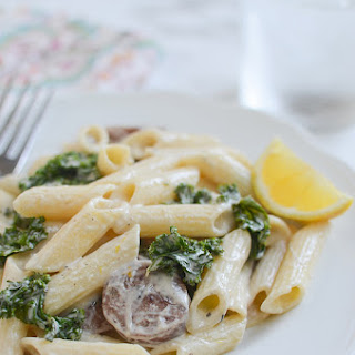 Gluten Free Lemony Goat Cheese Pasta with Sausage.