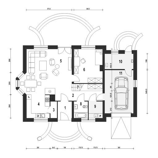 Dom Dla Ciebie 1 w3 z garażem 1-st. A - Rzut parteru