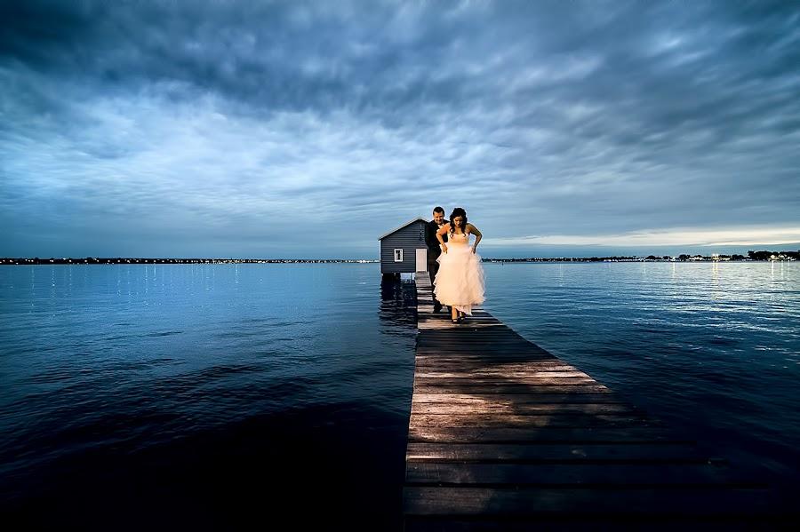 Karly & Dave by Chevy Morgan - Wedding Bride & Groom ( water, clouds, wedding, jetty, bride, groom )