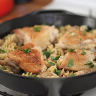 Easy Chicken and Mushrooms over Spinach Gruyere Pasta