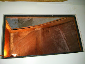 Photo: Looking down through the countertop with the ice box and insulation removed.