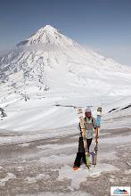 Photo: Model Katka and her skis Gafski - background Koryaksky