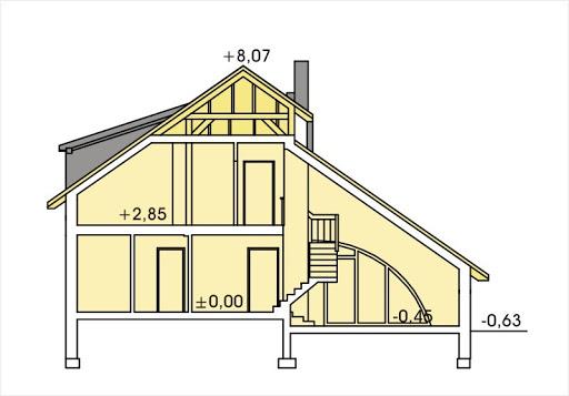 Wiera wersja A z pojedynczym garażem - Przekrój