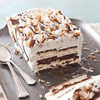 Turtle Ice Cream Sandwich Cake.