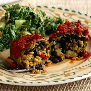 Collard-Wrapped Yellow Rice and Black Bean Enchiladas.