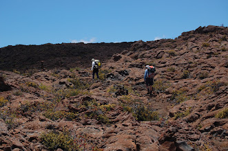 Photo: ... then onward and upward over ropy, lumpy, twisted lava ...