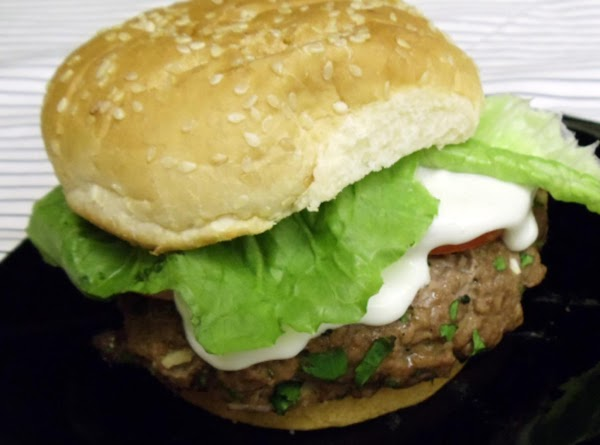 Serve burgers on split rolls with lettuce,tomato and blue cheese dressing.