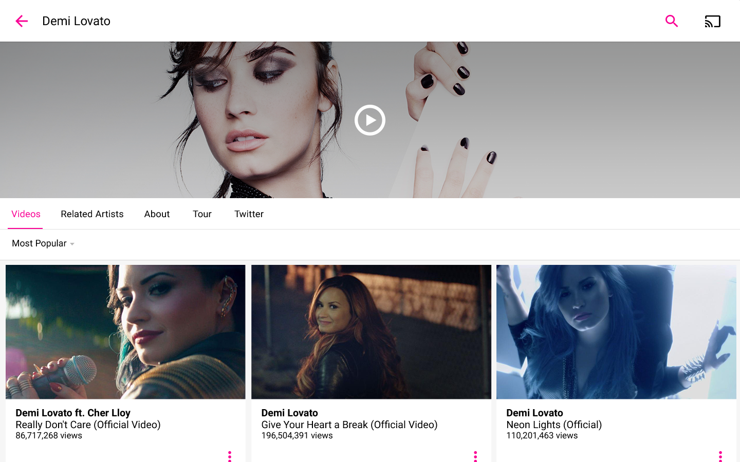 Vevo - Music Player & HD Music Video Streaming – скриншот