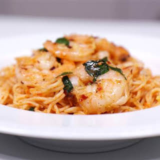 Foil Packet Shrimp With Angel Hair Pasta.
