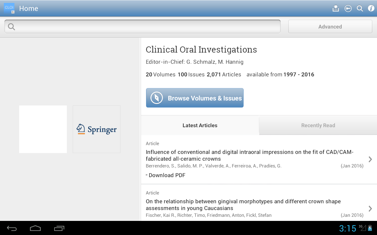 Clinical Oral Investigations- screenshot