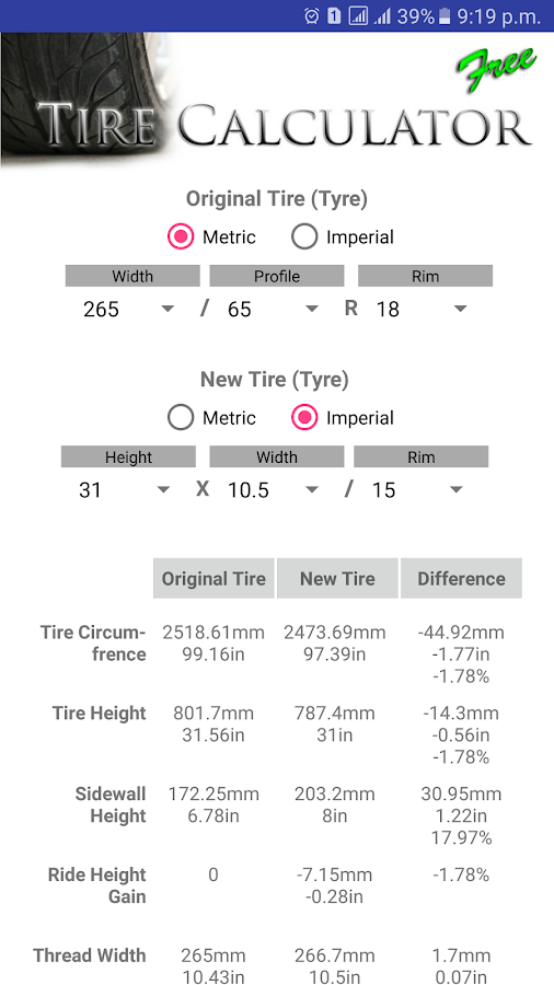 Tire Size Calculator FREE- screenshot