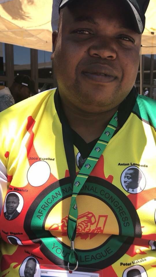 ANC Youth League President Collen Maine wearing t-shirt depicting all the previous leaders of the ANCYL. The t-shirt omits Julius Malema.