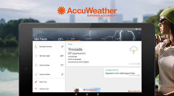 AccuWeather: relatório do clima e alertas do tempo: miniatura da captura de tela