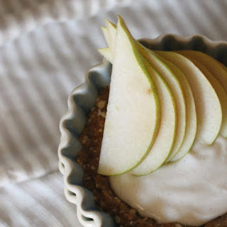Raw Cardamom Cream Pear Tart with Salty Date Caramel