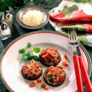 Überbackene Auberginen- scheiben mit Tomaten