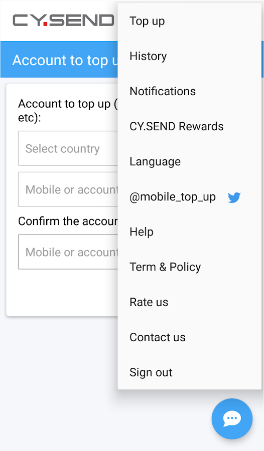CY.SEND Online Top Up- screenshot