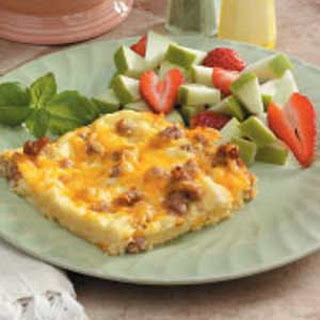 Sausage and Cheddar Breakfast Casserole.