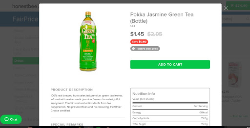 A bottle of Pokka Green tea sold in NTUC