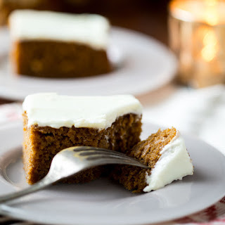 Healthier Gingerbread Cake With Cream Cheese Frosting.