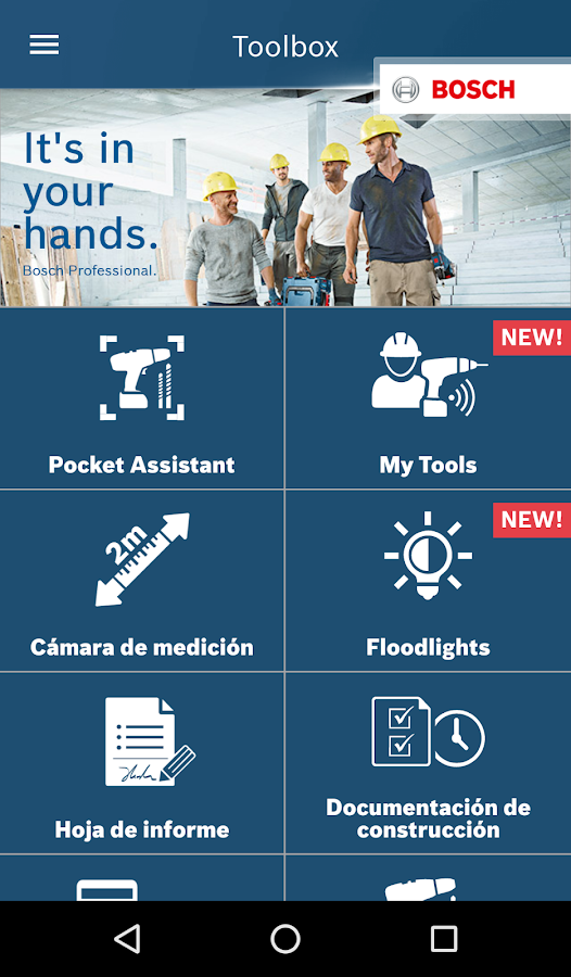 Bosch Toolbox: captura de pantalla