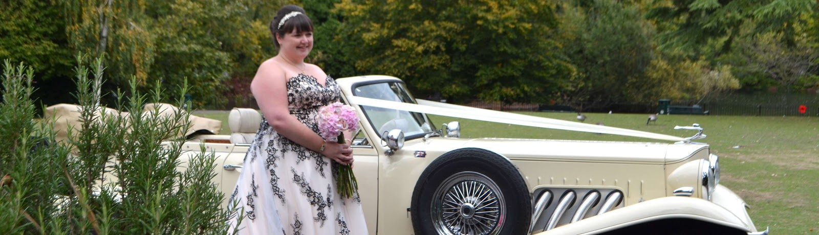 a beautiful bride and a car