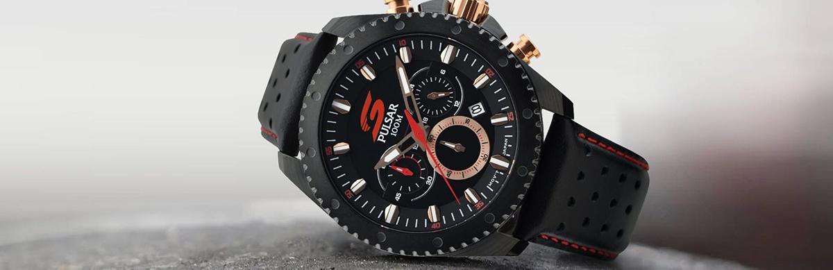 Pulsar Watch, Black Strap, Rubber Strap, Water-resistant Watch, Functional Watch