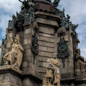 Victory! by Stavros Troullinos - City,  Street & Park  Historic Districts ( victory, skyline, statue, vivid, barcelona, skyscape )