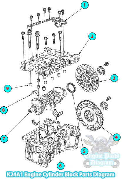 2002 Honda CRV Cylinder Block Parts Diagram (K24A1 Engine)Engine Parts Diagram